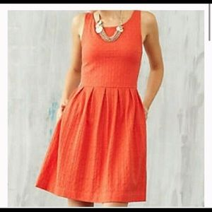 Anthropologie Deletta Textured Orange Dress